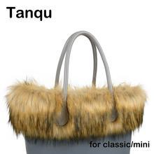 Tanqu yeni kadın çantası Faux rakun kürk peluş Trim O çanta termal peluş dekorasyon için klasik büyük mini Obag