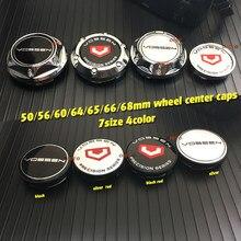 4 pçs vossen carro emblema emblema adesivos 50/56/60/64/65/66/68mm centro da roda do carro tampas hub rim para vossen acessórios de automóvel