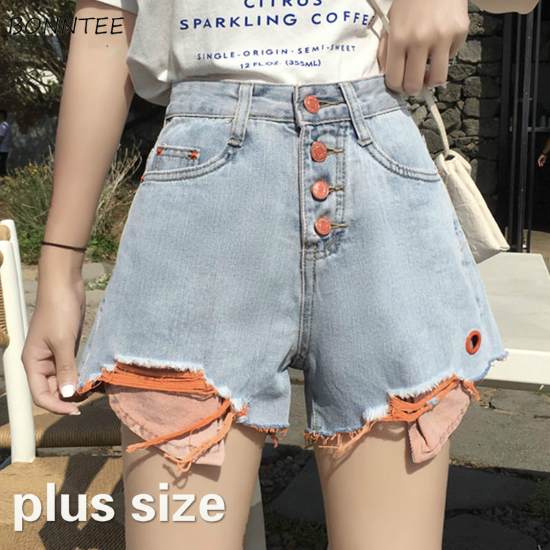 Shorts Women Plus Size 5XL Denim Button Fur-line Patchwork Hole Wide Leg High Waist Daily Summer Short Students Womens All-match