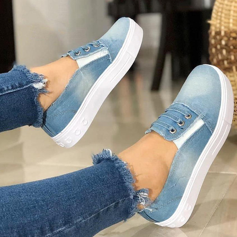 Women Canvas Sneakers Flats Heel Hollow Platform Vulcanized Elastic Band Ladies Loafers Espadrilles Shoes Zapatos Mujer 1129W