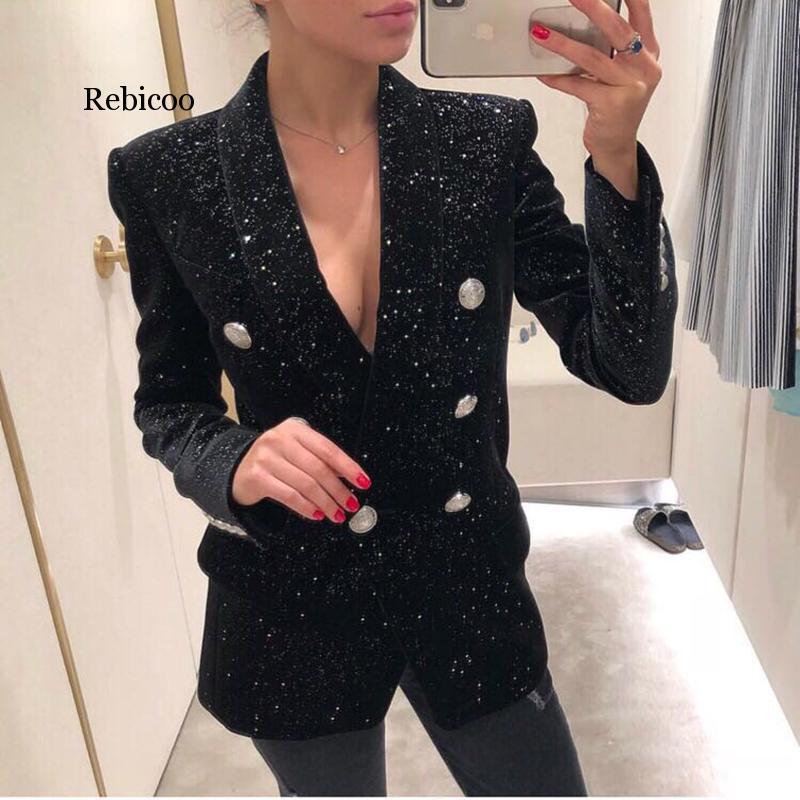 Designer Blazer Jacket Women's Shawl Collar Bling Star Velvet Blazer Coat Double Breasted Vintage Long Black Blazers Ladies