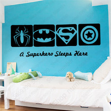 Cartoon A Superhero sleep Here Vinyl Wall Sticker Decals For Kids Rooms Baby Room Decoration Decor Mural LW593
