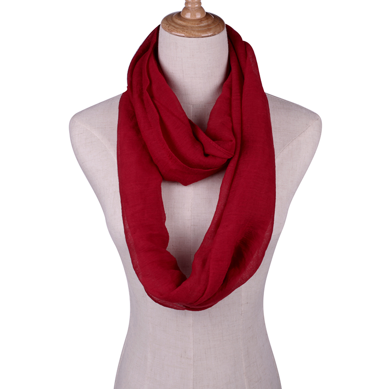 Solid Scarves Light Weight Circle Loop Women Infinity Scarf Plain Snood For Ladies Shawl Cheap Scarfs
