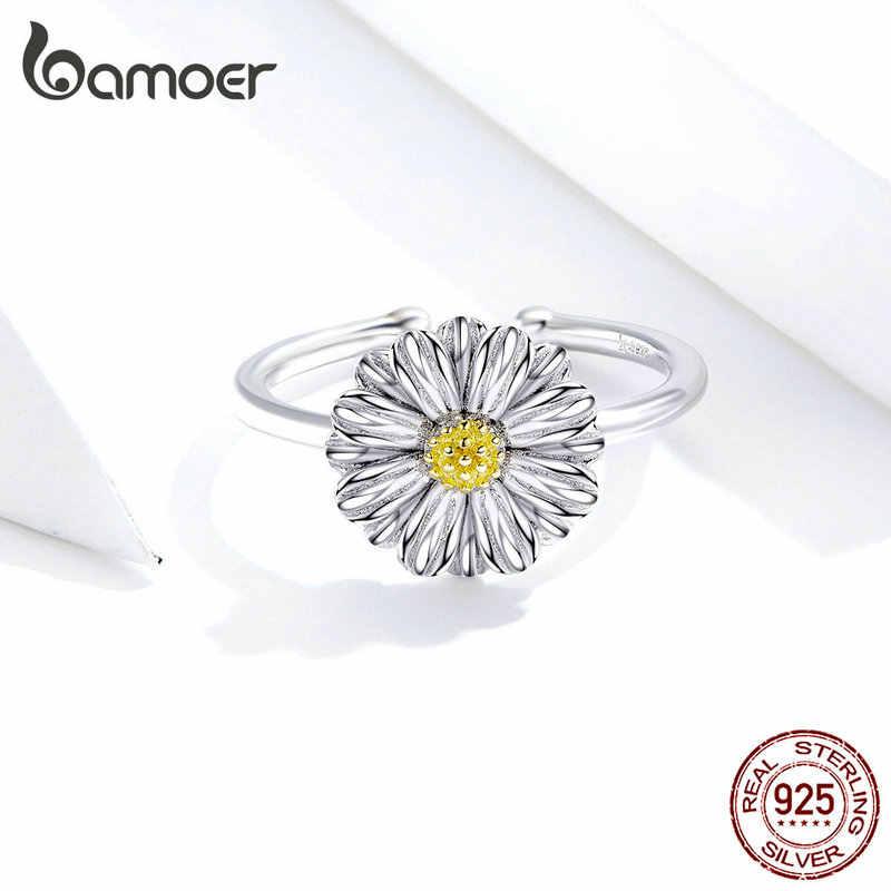 Bamoer เงิน 925 เครื่องประดับเคลือบ Daisy ดอกไม้เปิดแหวนนิ้วปรับได้สำหรับเงินสเตอร์ลิงเครื่องประดับ SCR616