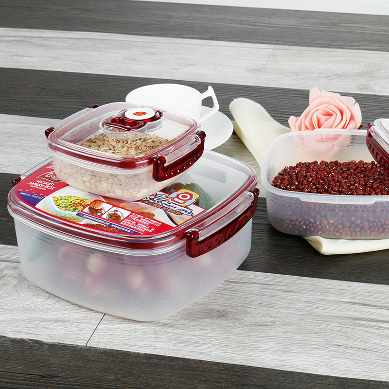 Square Spacious Preservation Box Kit Easy To Wash Container Plastic Transparent Airtight Storage Box Three-piece Set