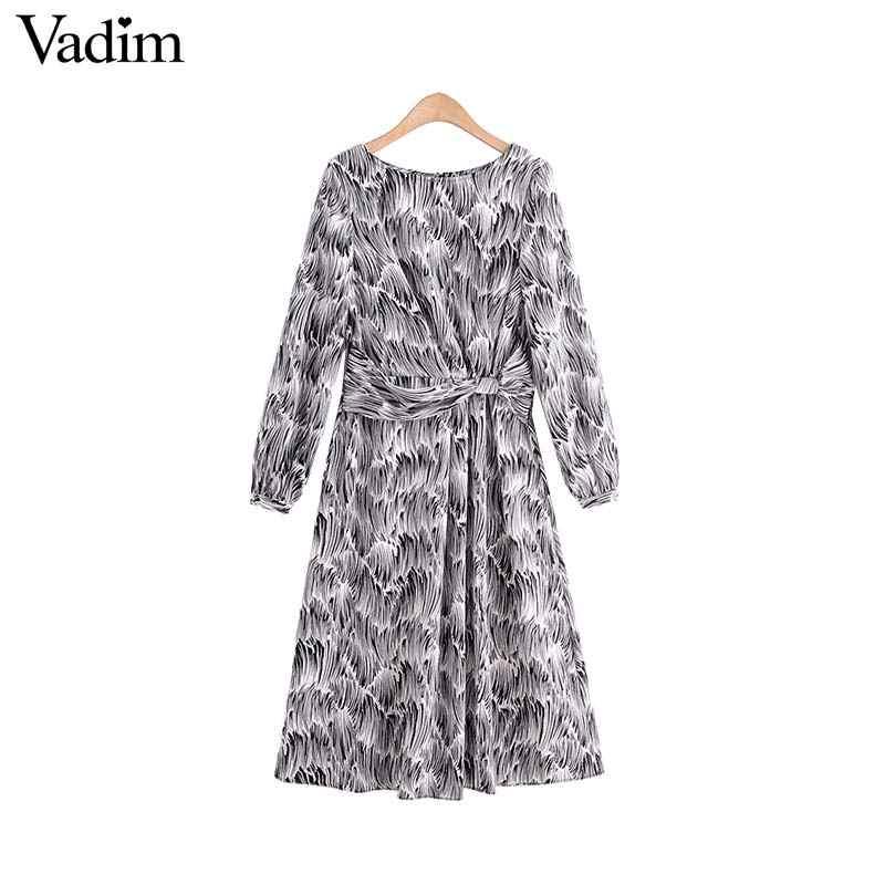 Vadim נשים אופנה זברה הדפסת midi שמלת קשת עניבה חזרה רוכסן פיצול בעלי החיים דפוס נקבה אמצע עגל שמלות vestidos QC890