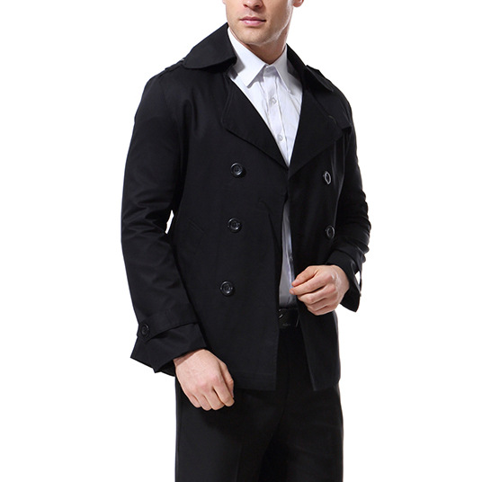 Autumn New Products Japanese Style Trend Men Double Breasted Woolen Trench Coat Mid-length Casual Coat Yf001