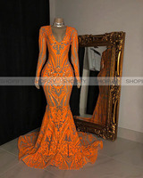 Long Mermaid Prom Dresses 2020 Sexy Long Sleeve Orange Sequined Nude Lining Black Girls African Women Prom Party Dress