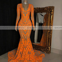 Long Mermaid Prom Dresses 2020 Sexy Long Sleeve Orange Sequi