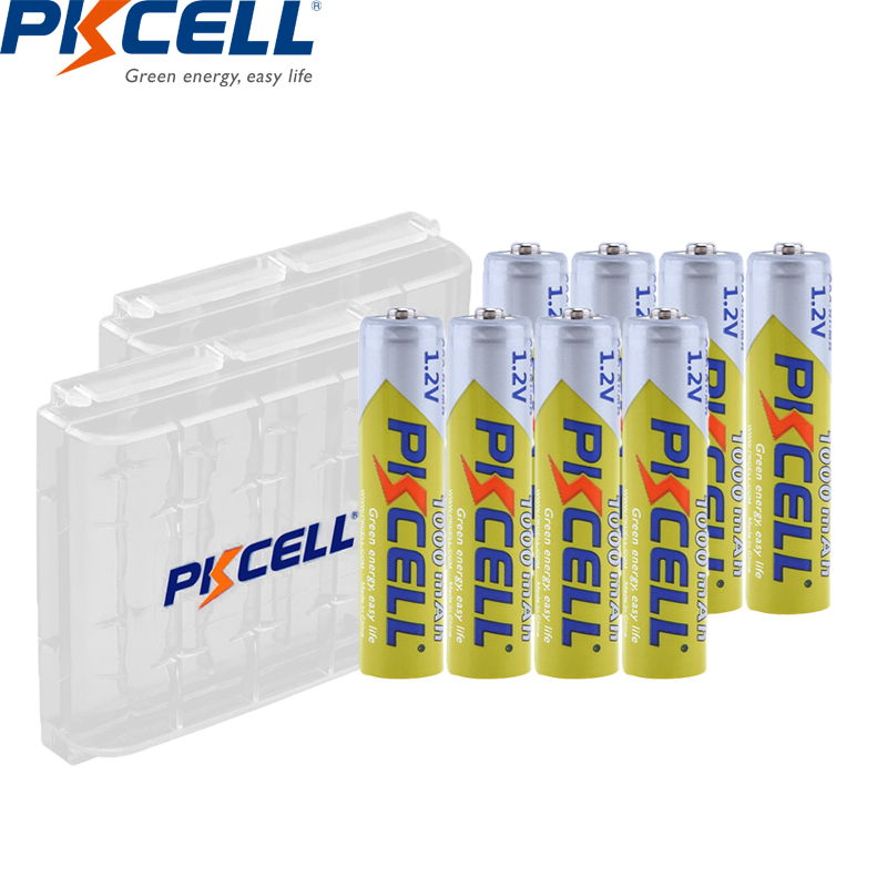 8Pcs PKCELL AAA Battery 1.2V Ni-MH AAA Rechargeable Battery 1000MAH Batteries 3A Bateria Baterias with 2PC AAA/AA Battery Holder(China)