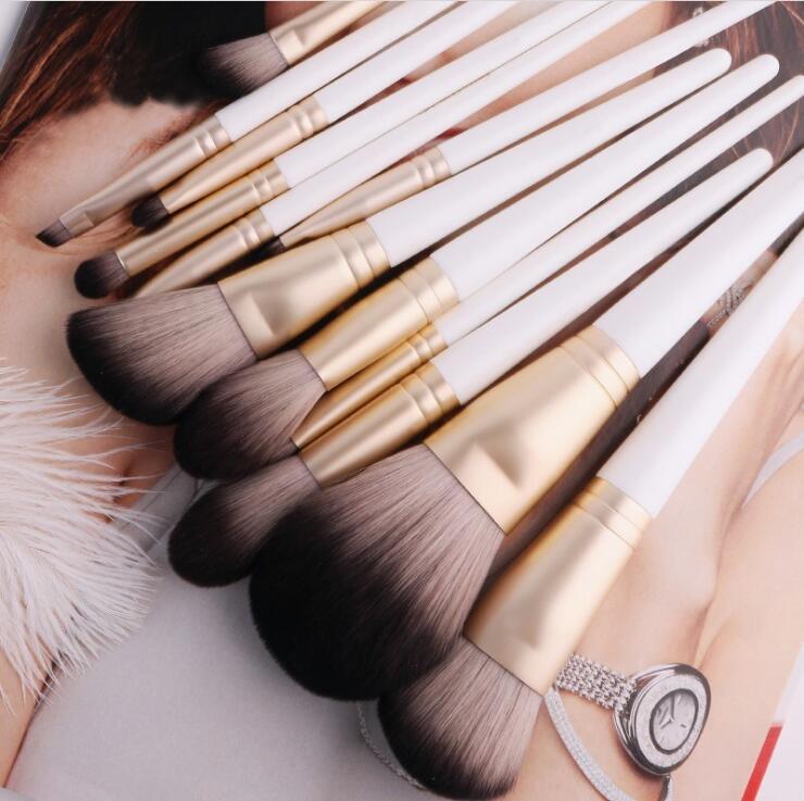 10 set lote 12 pcs multi fibra sintetica escova de cosmeticos terno punho madeira micro bigodes