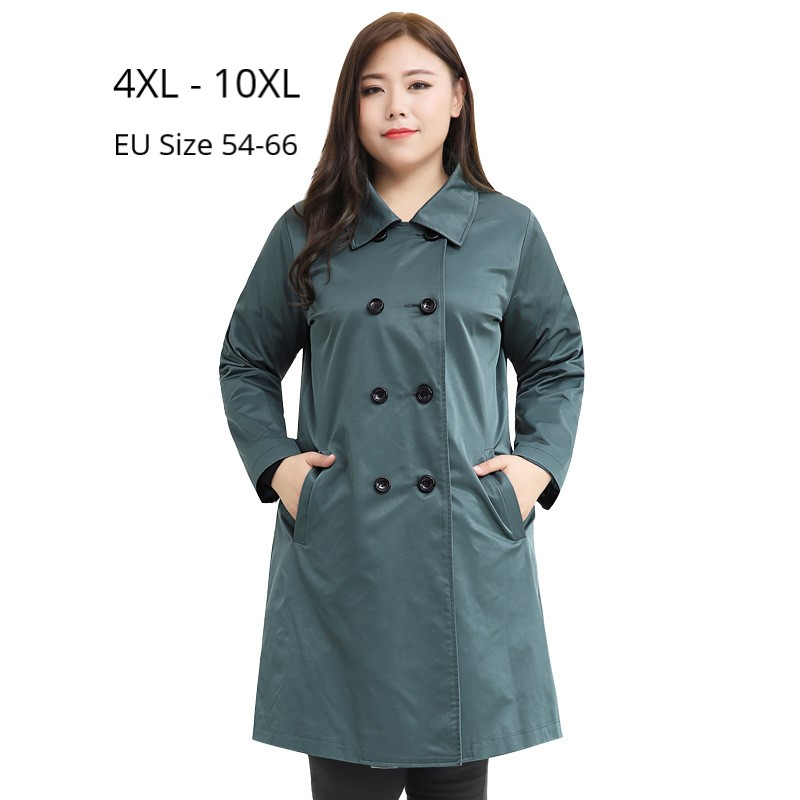 Plus Size 10XL 8XL 6XL 4XL Women Long Sleeve Autumn Trench Coat Female A Line Slim Coats Elegant Long Trenchcoat For Women