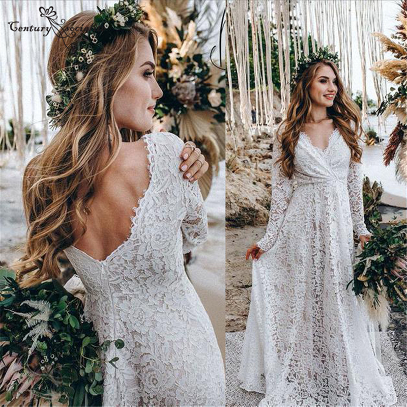 Best Top Lace Backless Beach Wedding Dress List And Get Free Shipping A294