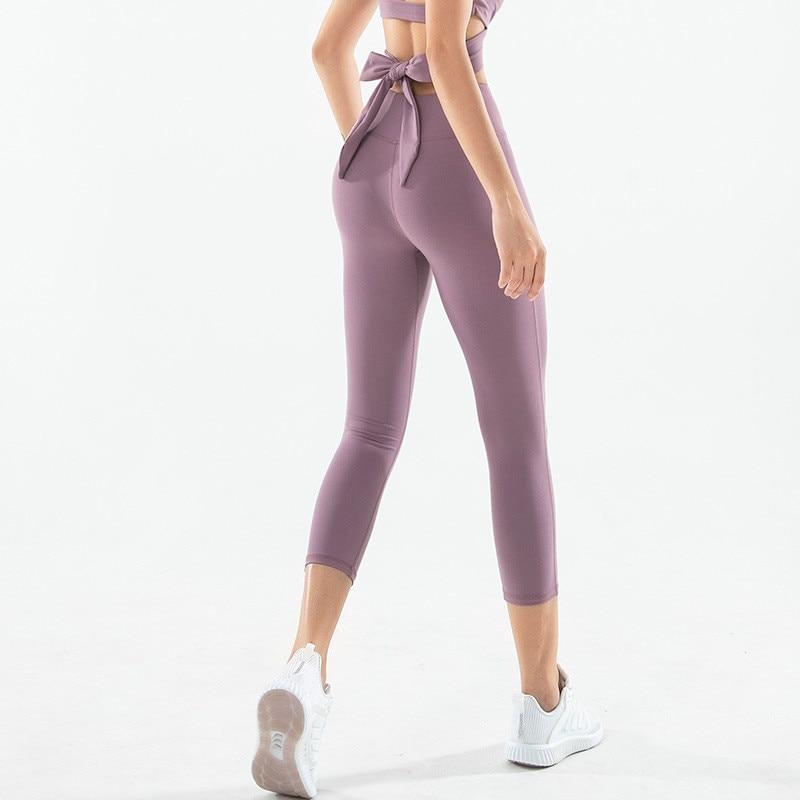 Women Athletic Cross Lace Up High Waist Capri Yoga Pants Gym Fitness Workout Running Leggings
