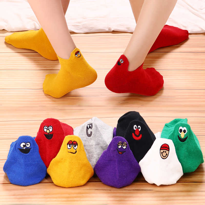 Kawaii Embroidered Expression Women Socks Happy Fashion Ankle Funny Socks Women Cotton Summer 4 Pairs Candy Color dropship