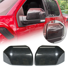 1 Pair Carbon Fiber GrainCar Rear View Mirror Cover Cap For Ford F150 2015-2019 Raptor Side Trim Auto Accessories