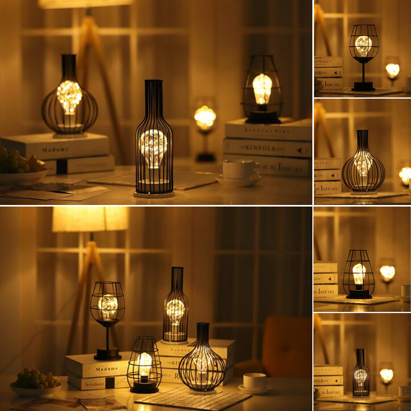 Iron Art Decorative Lamp Wine Cup Red Wine Bottle Lamp Copper Lamp LED Desk Lamp A Living Room Bedroom Modelling Night Light