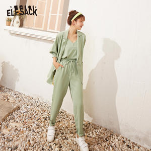 ELFSACK Candy Color Solid Casual Women Matching Sets 2020 Summer ELF High Waist Korean Office Ladies Daily Work Three Piece Sets