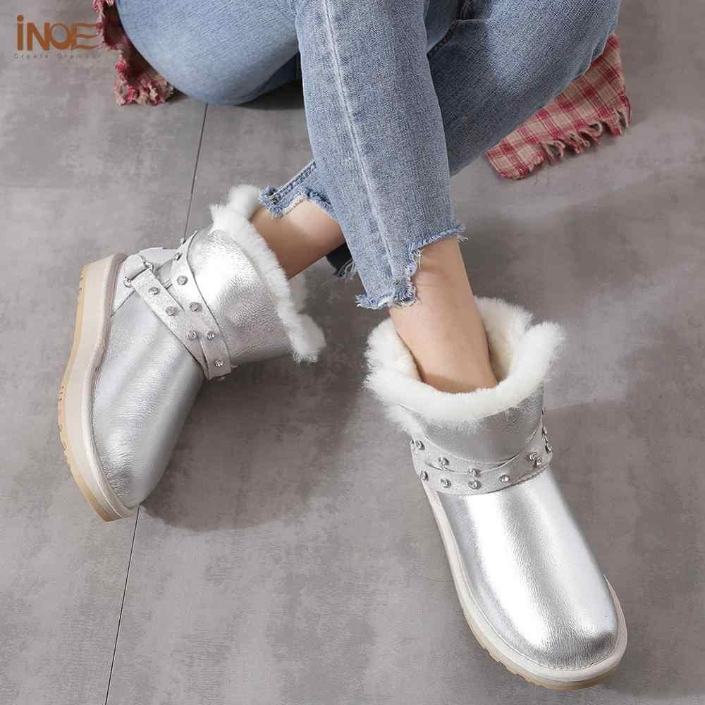 INOE Su Geçirmez Sheepksin Deri Shearlıng Yün Kürk Astarlı Kısa Kışlık Botlar Kadın Ayak Bileği Kar Botları Ayakkabı Gümüş Kristal Kayış