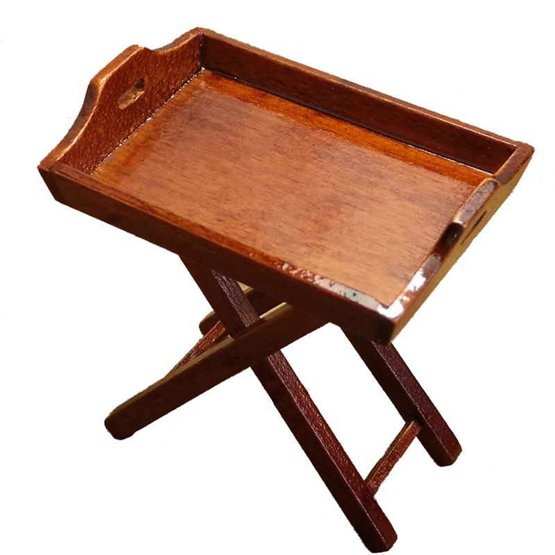 <font><b>Dollhouse</b></font> <font><b>Miniature</b></font> Toy <font><b>1:12</b></font> Kitchen Wooden Tray Table Height 6cm image