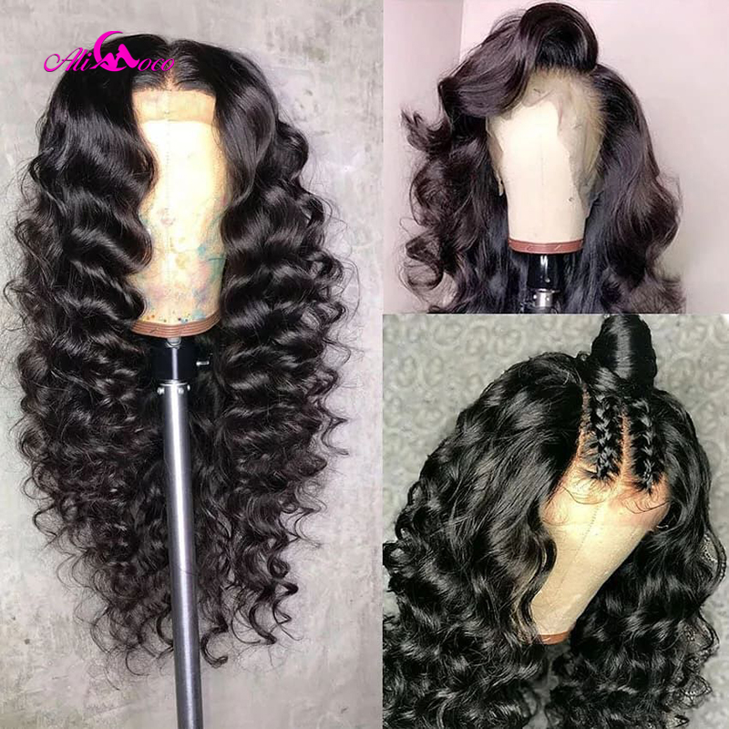 Brazilian Deep Wave Lace Front Human Hair Wigs Front Lace Wigs With Baby Hair Pre Plucked Natural Hairline 150% Remy Ali coco-in Human Hair Lace Wigs from Hair Extensions & Wigs
