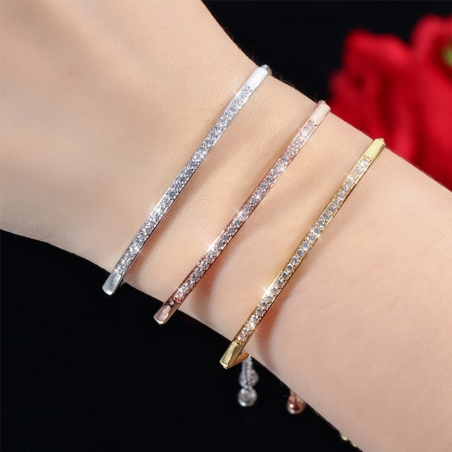 Half Bar CZ Paved Fashion Bangle Adjustable Chain Bracelet Women Fashion Jewelry for Anniversary Brithday Valentine's DAY  Gift 1