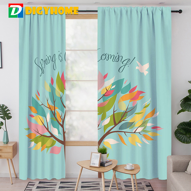 2pcs Window Curtains Decorative Spring Autumn Tree Print Curtain For Living Room Bedroom Home Window Treatments 60-70% Shading