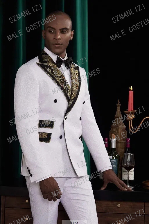 Costume Homme Mariage 2020 Designers White Tuxedo Gold Lapel Floral Groom Suit Double Breasted Suit Men Wedding Suits For Men
