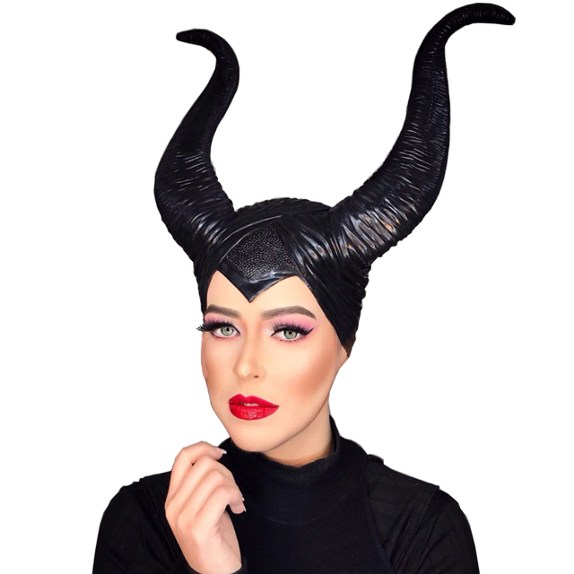 Women Maleficent Costume Witch Black Horns Cosplay Mask Halloween Hat Prop USA !