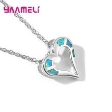 New Luxury Crystal CZ Opal Heart Pendant Choker Necklace 925 Sterling Silver Cha
