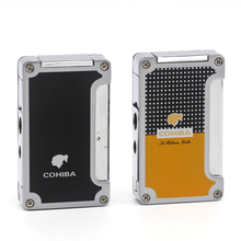 COHIBA Metal Cigar Lighter 3 Jet Flame Butane Cigarette Pocket Accessory with Punch Gift Box
