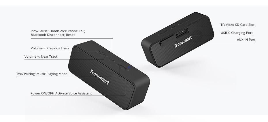 Tronsmart T2 Plus Bluetooth 5.0 Speaker 20W Portable Speaker 24H Column IPX7 Soundbar with TWS,Voice Assistant,Micro SD (7)
