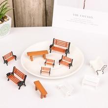 1 par de estatuillas de silla de parque casa de muñecas Banco miniatura Micro paisaje bonsái suculento DIY artesanía decoración del hogar Accesorios
