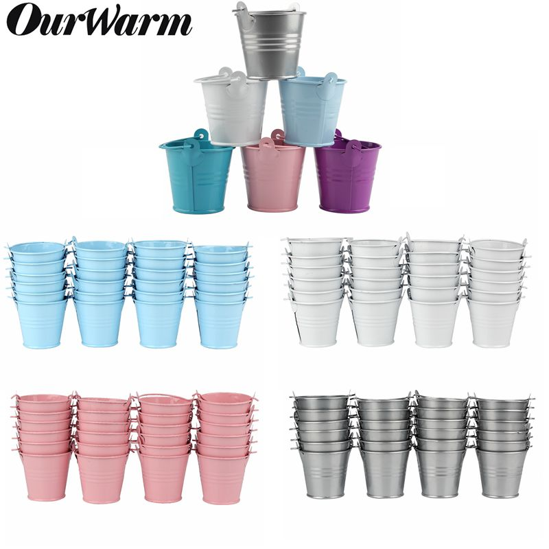 OurWarm 50pcs Mini Tinplate Metal Bucket Icing French Fries Tin Pails Wall Vertical Hanging Bucket Iron Holder Basket Colorful