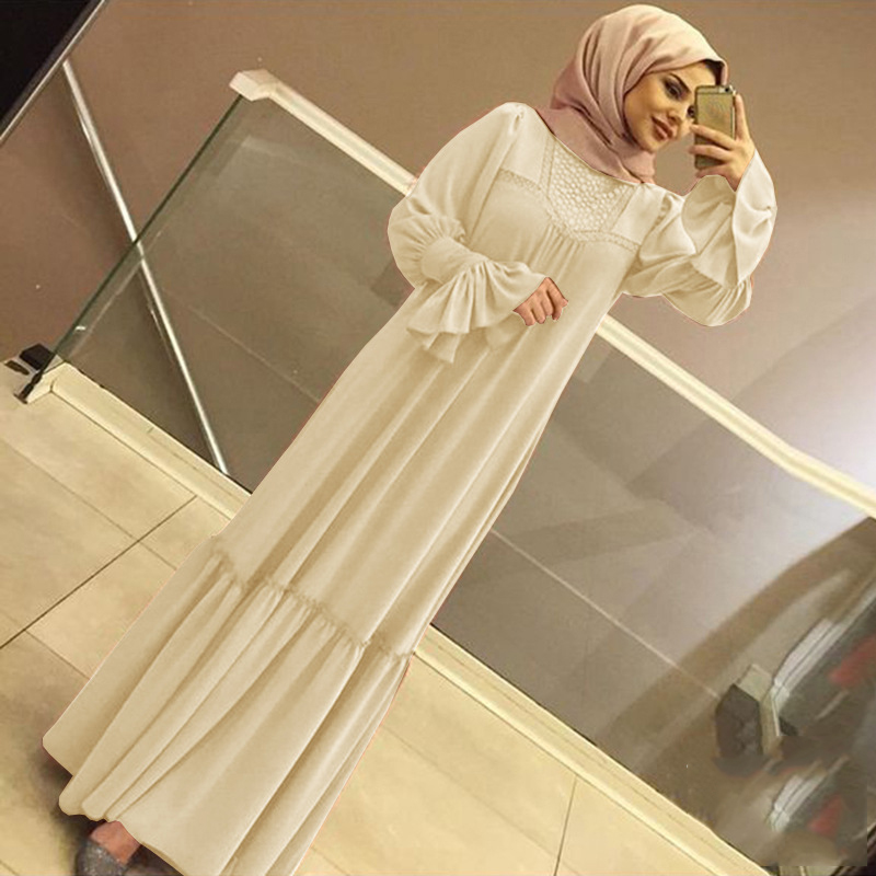 Muslim Women Hijab Dress Solid Color Ruffle Petal Sleeve Maxi Long Dress Islamic Clothing Caftan Kimono