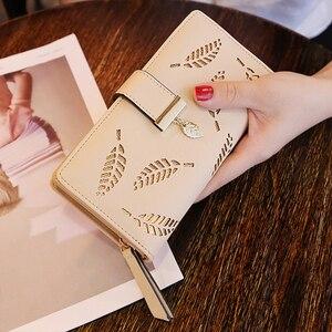 PUIMENTIUA 2020 Women Wallet Purse Female Long Wallet Gold Hollow Leaves Pouch Handbag For Women Coin Purse Card Holders Femme