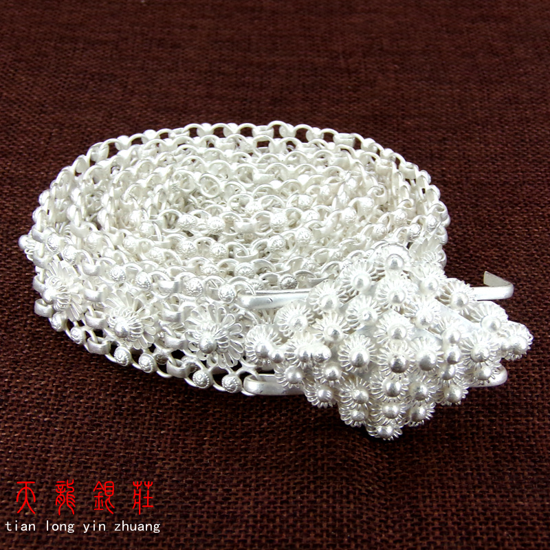 99.9% Snow Silver Belt, Famous Plum Blossom Handmade Silver Waist Chain, Ladies'Luxury Jewelry . Luxury Belt