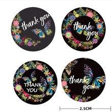 100/500 pces obrigado adesivos padrão colorido flor borboleta adesivo celebrar loja festival presente de aniversário crianças etiqueta de vedação