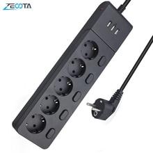 Presa multipla protezione contro le sovratensioni spina ue prese di prolunga elettriche prese USB a 5 vie controllo interruttore indipendente cavo 2m