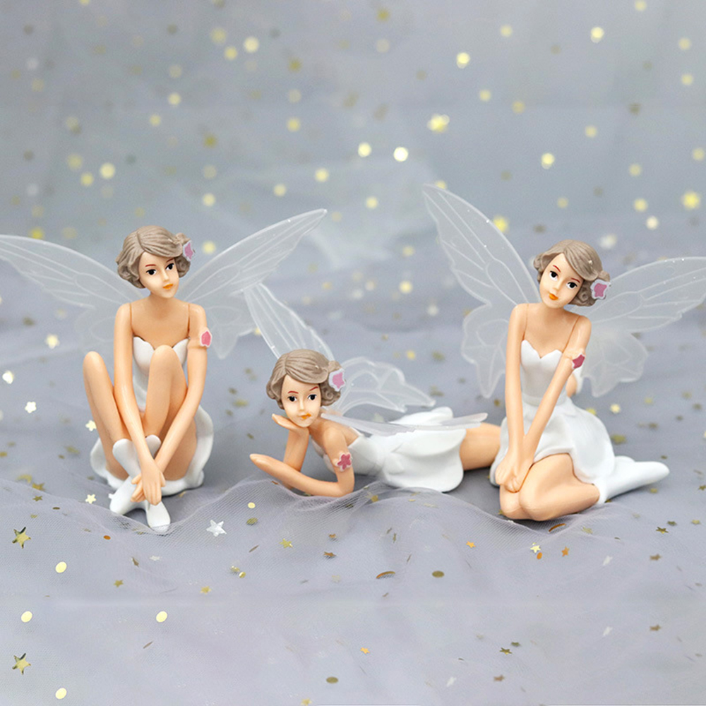 New Decorating Fairy Girls Elf Pixie White Angel Family Miniature Dollhouse Garden and Wedding Cake Ornaments For Home