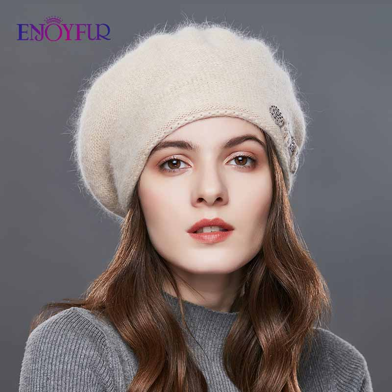 Image 2 - ENJOYFUR Rabbit Knitted Winter Hats For Women Cashmere Warm Beret Hat Female Flower Decoration Lady Middle Aged Cap-in Women's Berets from Apparel Accessories