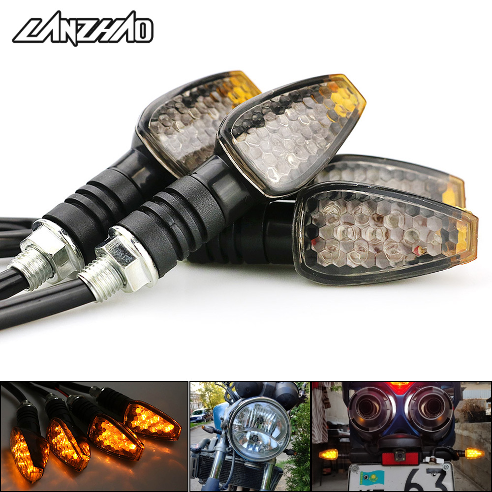 4pcs set Universal Motorcycle LED Turn Signals Long Short Turn Signal Indicator Lights Blinkers Flashers Amber Color Accessories