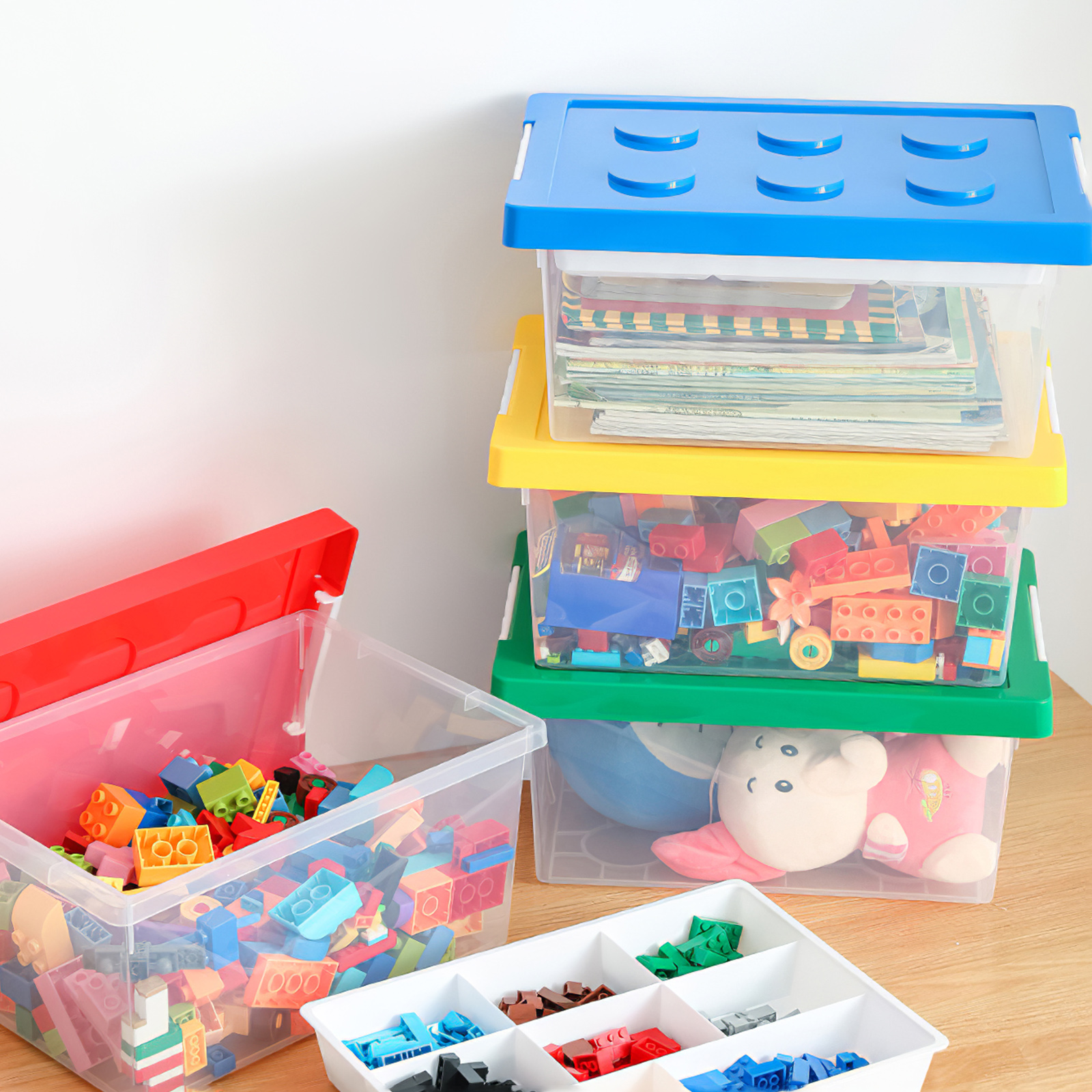 Organizer Container Case Colorful Building Block Designed Large Capacity Storage Container Storage Box Stackable Storage Case