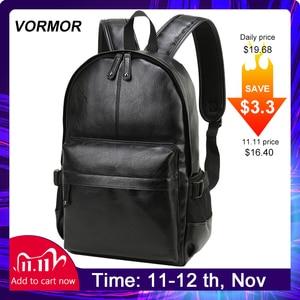 Image 1 - VORMOR mochila escolar de cuero impermeable para hombre, bolso de viaje, informal, de cuero