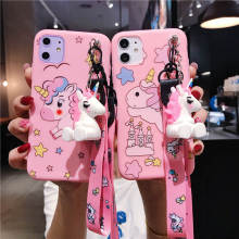Unicorn Cute Pink Silicone Lanyard Case For OPPO