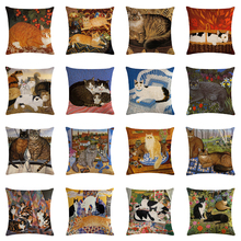 Funda de cojín de cama de lino de Animal bonito Retro funda decorativa de un solo lado funda de almohada de Navidad de gato negro para sofá o silla