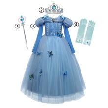 Kopciuszek sukienka dla dziewczynek księżniczka sukienka Halloween sukienka świąteczna dziewczyna nowy rok kostium śpiąca królewna Elsa sukienka królowa śniegu tanie tanio JYXJZC Poliester Wiskoza Woal Mesh CN (pochodzenie) Kostek O-neck REGULAR Pełna Europejskich i amerykańskich style Pasuje prawda na wymiar weź swój normalny rozmiar