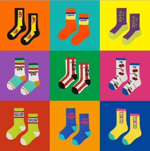 3-12Year 4Pairs Pack Children Socks Autumn Letters Street Sports Style Personality Kids Boy Girls Cartoon Kids Tube Socks 4