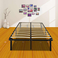 (US) Queen Size Metal Iron Bed Stand with Wooden Slat Black Dropshipping