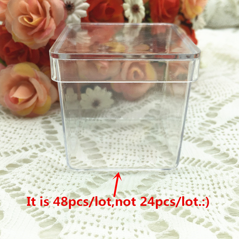48pcs lot Square Wedding Decoration Party Favors Baby Shower Souvenirs Plastic Transparent Candy Box with Personalized Stickers